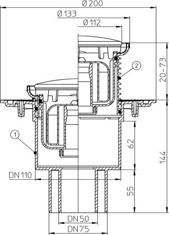 """HL310NPrR Padlólefolyó DN50/75/110 függőleges kimenettel, szigetelő karimával, """"Primus"""" bűzzárral, d 133 nemesacél gyűrűvel, d 112 nemesacél fedéllel"""