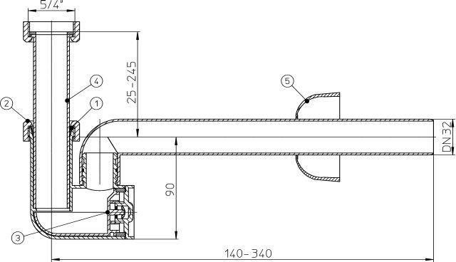 HL135/30 Mosdószifon DN32x5/4', elfordítható kimenettel, tisztítókazettával és rozettával