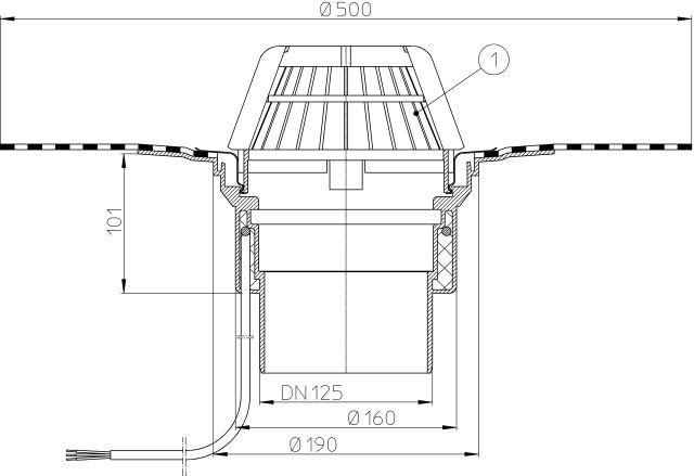 HL62.1H/2 Tetőlefolyó DN125, gyárilag felhegesztett bitumengallérral, és 10-30W/230V fűtéssel