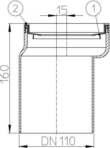 HL204 WC-csatlakozó DN110, excenter, ajakos tömítéssel