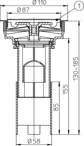 HL307 Betét d 110mm nemesacél ráccsal d 85mm és Visszatorlás gátló szeleppel