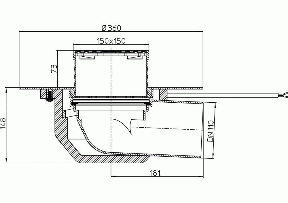 HL64.1BP/1 Lapostető lefolyó vízszintes DN110, PVC szigetelő tárcsával, fűthető (10-30W/230V), járható tetőhöz - 148-148mm / 137x137mm