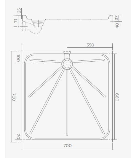 TEKA AC904 70x70 rozsdamentes acél zuhanytálca 70.9.004.020 / 709040200