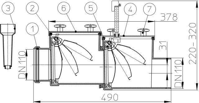 HL710.2 Visszatorlás gátló szelep, DN110, 2 db. nemesacél csappantyúval, tisztítófedéllel, kézi zárral