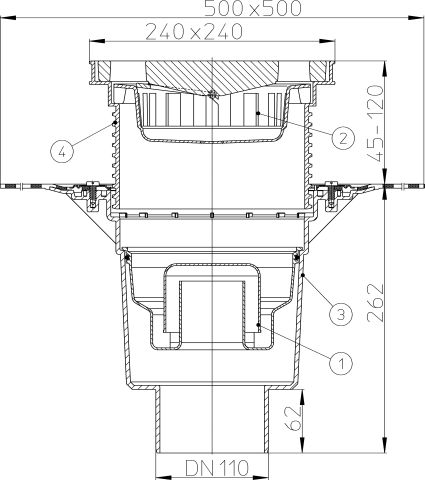 HL616HW/1 Perfekt lefolyó DN110 függőleges kimenettel, gyárilag felhegesztett bitumengallérral, 244x244mm műanyag kerettel, 226x226mm öntöttvas ráccsal, vízbűzzárral, szemétfogó kosárral.