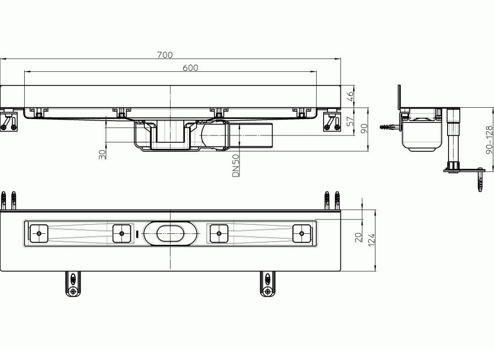 HL50WF.0/70 Alacsony beépítési magasságú zuhanyfolyóka nemesacélból a padló és a fal találkozásába építve, DN50 kimenetű lefolyóval, szerelési segédanyagokkal, fedél nélkül. Beépítési hossz 700mm