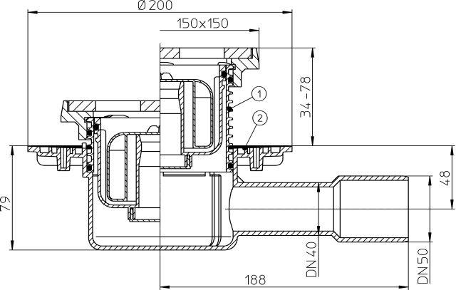 """HL510NPrG Padlólefolyó DN40/50vízsintes kimenettel, """"Primus"""" bűzzárral, 150x150mm/137x137mmöntöttvas rácstartóval"""