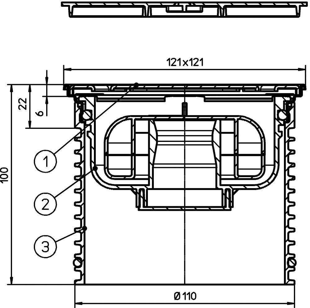 """HL3000FPr Rácstartó d 110mm, 121x121mm/115x115mm """"KLICK-KLACK"""" nemesacél keret és rács, """"Primus"""" bűzzár (alacsony)"""