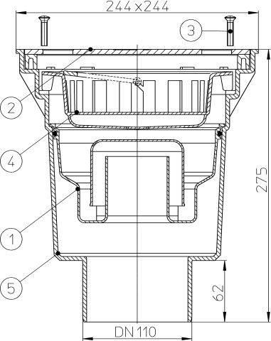 HL606SW/1 Perfekt lefolyó DN110 függőleges kimenettel, 244x244mm műanyag kerettel, 226x226mm nemesacél ráccsal, vízbűzzárral, szemétfogó kosárral.