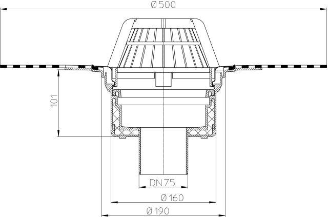 HL62H/7 Tetőlefolyó DN75 szigetelőkarimával, gyárilag felhegesztett bitumengallérral