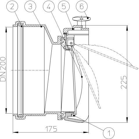 HL720.0 Béka-szelep DN200 nemesacél csappantyúval