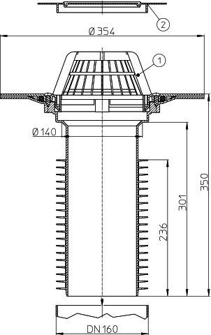 HL69P/5 Lapostető lefolyó felújításhoz, DN160 csőhöz, PVC karimával.
