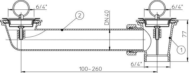 """HL24-6/4 Lefolyó csatlakozó DN40 x6/4"""" 2 db. lefolyószeleppel"""