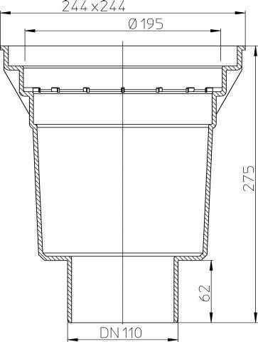 HL606K/1 Perfekt lefolyó test DN110függőleges kimenettel, 244x244mm öntöttvas kerettel