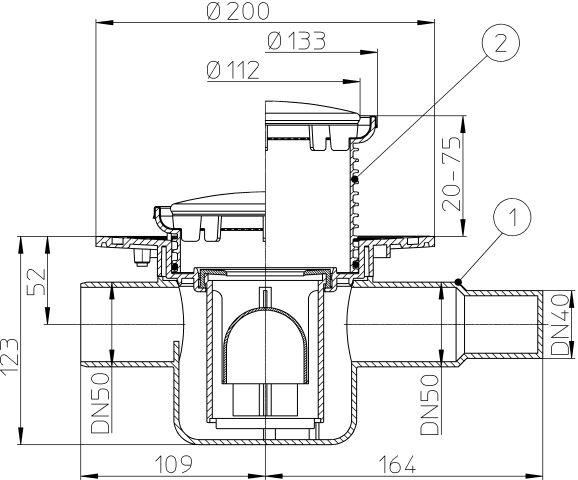 HL300R Padlólefolyó DN50 vízszintes kimenettel, szigetelő karimával, DN40/50 bemenettel, d 133 kör alakú gyűrűvel d 112 fedéllel