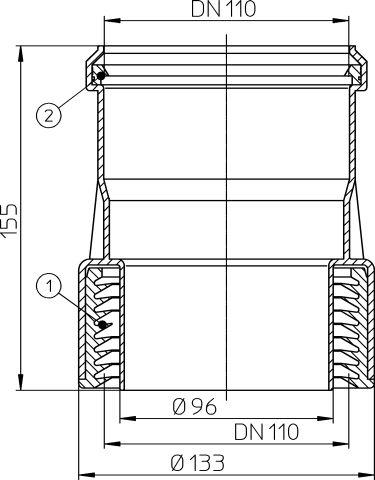 HL9/1 Átmeneti idom DM110 műanyag/öntöttvas