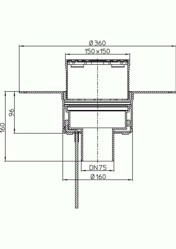 HL62.1BF/7 Lapostető lefolyó függőleges DN75, PP szigetelő tárcsával, fűthető (10-30W/230V), járható tetőhöz - 148-148mm / 137x137mm