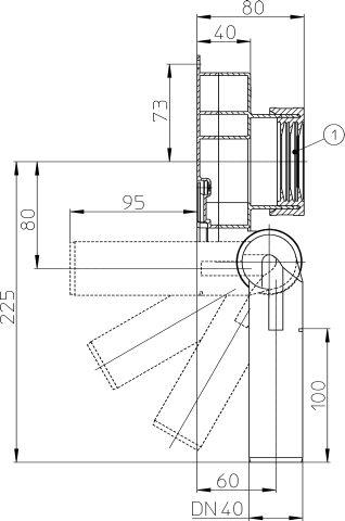 HL430/40 Vizeldeszifon, DN40 elfordítható kimenettel