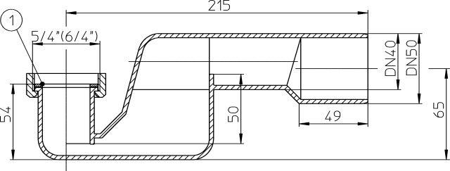 """HL500N-5/4 Fürdőkád szifon DN40/50x5/4"""""""