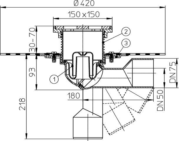 HL81.1GH Padlólefolyó DN50/75 elfordítható kimenettel, gyárilag felhegesztett bitumengallérral, vízbűzzárral, 150x150mm/137x137mm öntöttvas rácstartóval és ráccsal