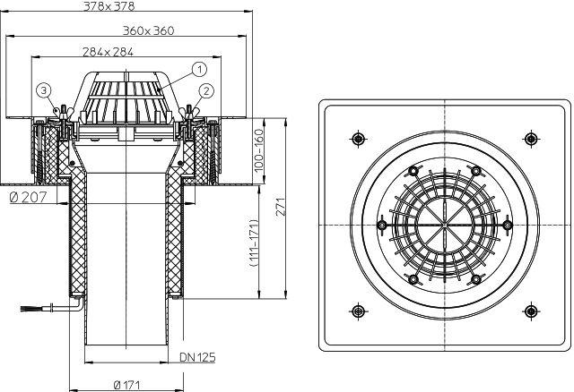 """HL63.1/2 Tetőlefolyó """"DrainBox"""" DN160 szigetelőkarimával, szorítóelemmel és 10-30W/230V fűtéssel"""