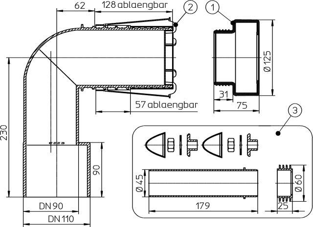 HL225.1/90 WC-csatlakozó könyök PE-ből DN90/110 rövidíthető bemenettel, ajakos tömítéssel védősapkával, +HL226