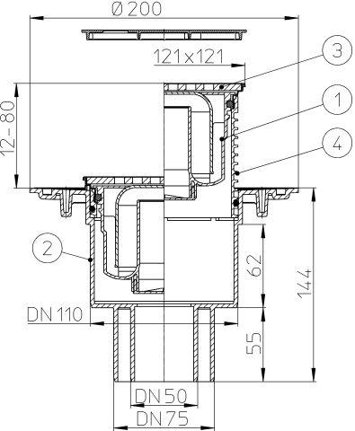 """HL310N-3124 Padlólefolyó DN50/75/110 függőleges kimenettel, vízbűzzárral, 121x121mm KLICK-KLACK/115x115mm """"Nil"""" ráccsal"""