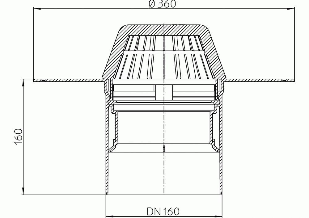HL62P/5 Lapostető lefolyó DN160, PVC karimával.