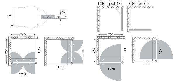 Roltechnik TCN2+TCB/900 Kétszárnyas nyitható zuhanyajtó, fix fallal kombinálva / balos / 90x200 cm / ezüs profillal / transparent üveggel