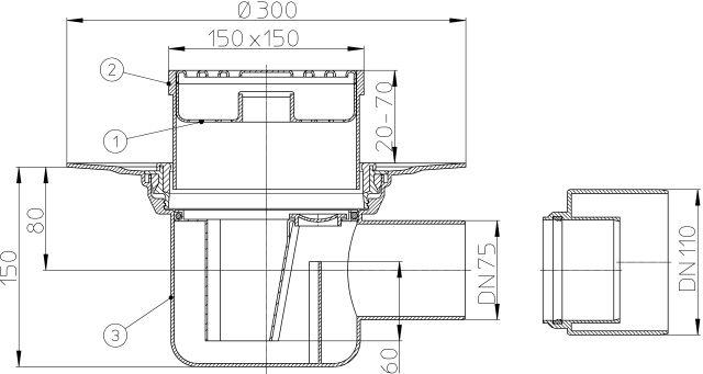HL72.1N Padlólefolyó DN75/110 vízszintes kimenettel, szigetelő karimával, bűzzárral, 148x148mm/138x138mm műanyag rácstartóval és ráccsal