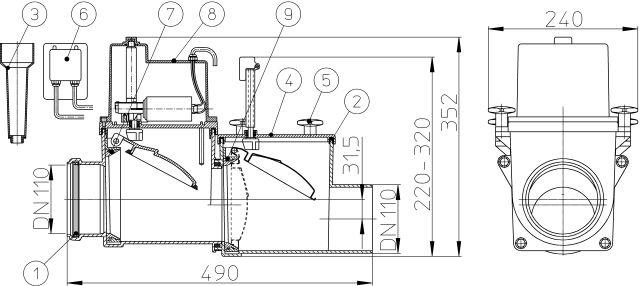 HL710.2EPC Visszatorlás gátló szelep, DN110, 2 db. nemesacél csappantyúval, tisztítófedéllel, kézi zárral, elektronikus vezérlőegységgel és távvezérlő csatlakozással