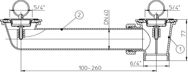 """HL24-5/4 Lefolyó csatlakozó DN40 x5/4"""" 2 db. lefolyószeleppel"""