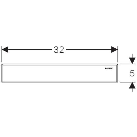 Geberit takarólap zuhany szerelőelemhez / 32x5 cm, szálcsiszolt rozsdamentes acél / 154.336.FW.1 / 154336FW1