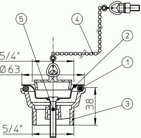 """HL15.1 Szelep 60mm csavarral 5/4"""" menettel"""