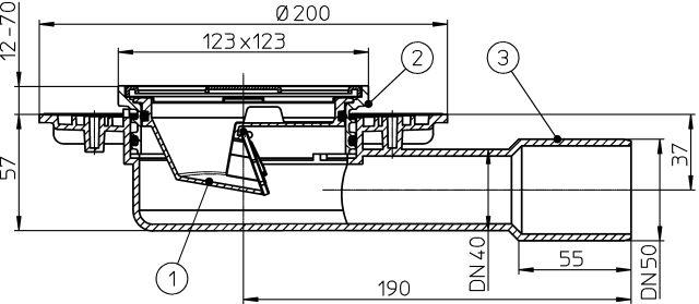 HL90.2 Balkon- és teraszlefolyó DN40/50 vízszintes kimenettel, mechanikus bűzzárral, 123x123/115x115 ráccsal