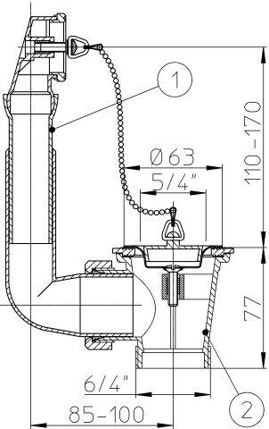 """HL15U-5/4 Szelep 5/4"""" tányérral, 6/4"""" menettel, túlfolyóval"""
