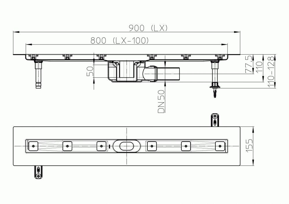 HL50F.0/90 Sík kivitelű zuhanyfolyóka nemesacélból, DN50 kimenetű lefolyóval, szerelési segédanyagokkal, fedőléc nélkül. Beépítési hossz 900mm.