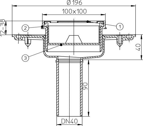 HL92 Balkon- és teraszlefolyó DN40 függőleges kimenettel, szigetelő karimával, szűrőkosárral, bűzzár nélkül, 100x100mm/94x94