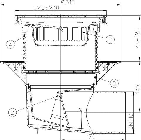 HL615S Perfekt lefolyó DN110 vízszintes kimenettel, szigetelő karimával, 244x244mm műanyag kerettel, 226x226mm nemesacél ráccsal, mechanikus bűzzárral, szemétfogó kosárral.