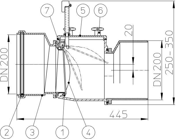 HL720.1 Visszatorlás gátló szelep, DN200 nemesacél csappantyúval, tisztítófedéllel, kézi zárral
