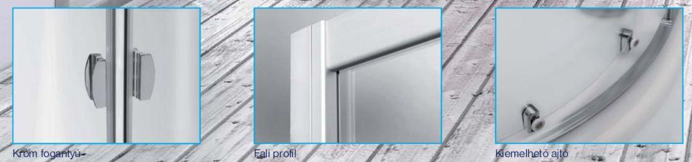 Roltechnik ECR2/800 íves zuhanykabin / 80x185 cm / brillant profillal / chinchilla üveggel