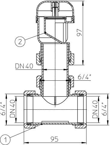 HL904T Légbeszívó szelep DN40 T-idommal DN40