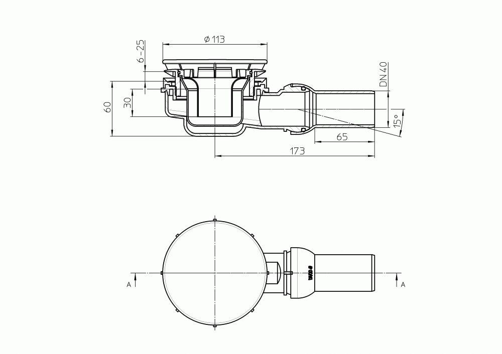 HL521 Szuperalacsony zuhanytálca szifon DN40 gömbcsuklós csatlakozóval D90mm lyukmérethez D113mm nemesacél lefolyólappal.