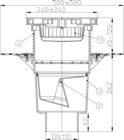HL616HL/1 Perfekt lefolyó DN110 függőleges kimenettel, gyárilag felhegesztett bitumengallérral, 244x244mm műanyag kerettel, 226x226mm műanyag ráccsal, mechanikus bűzzárral, szemétfogó kosárral.