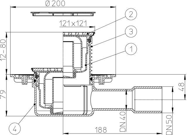 """HL510N-3121 Padlólefolyó DN50/75/110 vízszintes kimenettel, vízbűzzárral, 121x121mm KLICK-KLACK/115x115mm """"Seine"""" ráccsal"""