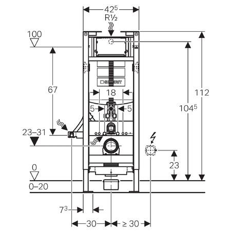 Geberit Duofix WC szerelőelem fali WC részére Sigma 12cm-es öblítőtartállyal, magasságban állítható kivitel / 111.396.00.5 / 111396005