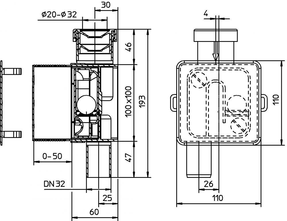 HL138 Klímaszifon falba süllyesztve DN32 - 100x100mm