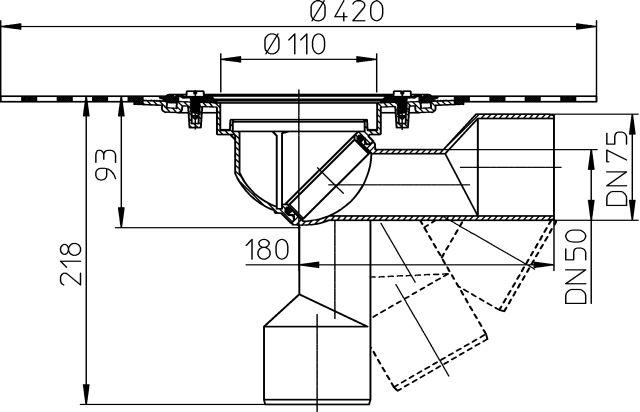HL80HK Balkon- és teraszlefolyó test DN50/75 elfordítható kimenettel, gyárilag felhegesztett bitumengallérral
