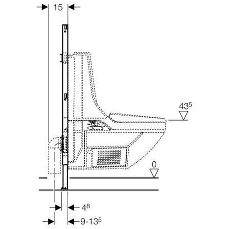 Geberit Duofix WC szerelőelem fali monoblokkos WC-hez / 111.203.00.1 / 111203001