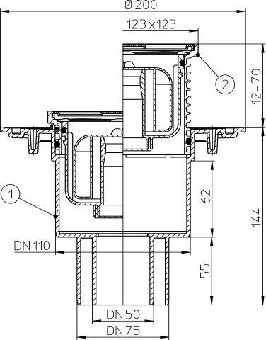 """HL310NPr Padlólefolyó DN50/75/110 függőleges kimenettel, szigetelő karimával, """"Primus"""" bűzzárral, 123x123mm/115x115mm"""